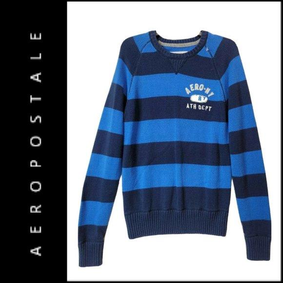 Aeropostale Men Long Sleeve Blue Knit Logo Sweater
